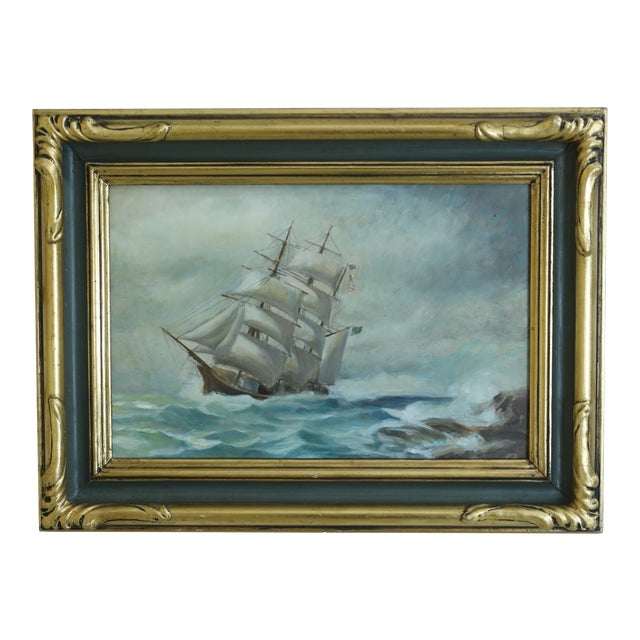 Vintage Ship 'Stormy Seas' Oil Painting on Board in Gold Frame For Sale