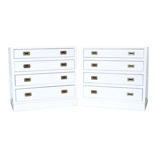Campaign White Lacquered Chests Nightstands - a Pair For Sale