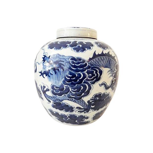 Blue & White Ginger Jar w/ Dragon For Sale