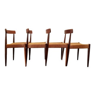 1950s Vintage Arne Hovmand Olsen for Mogens Kold Danish Modern Dining Chairs - Set of 4 For Sale