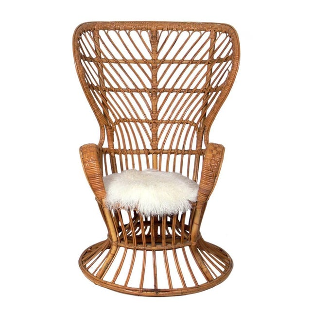 Rattan & Sheep Skin Peacock Chair 1950's - Image 1 of 2