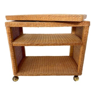 20th Century Boho Chic Rattan/ Wicker Swivel Cart For Sale