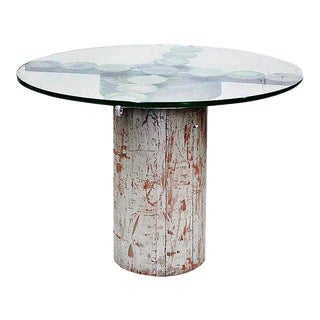 Vintage Custom Cylindrical Studio Table With Glass Top For Sale