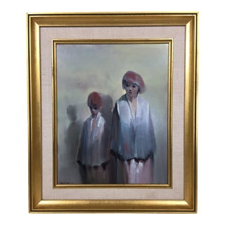 "Vintage 1978 ""The Outcast"" Oil on Board Painting, Framed For Sale"