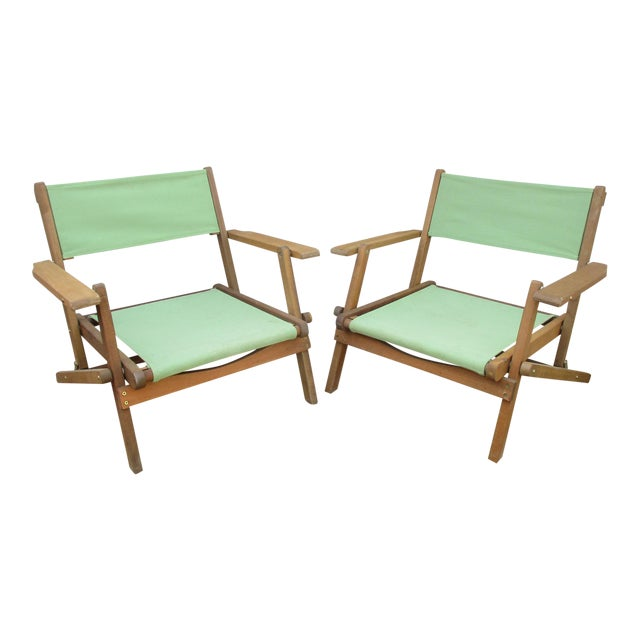 Vintage Teak Folding Canvas Chairs - A Pair - Image 1 of 10