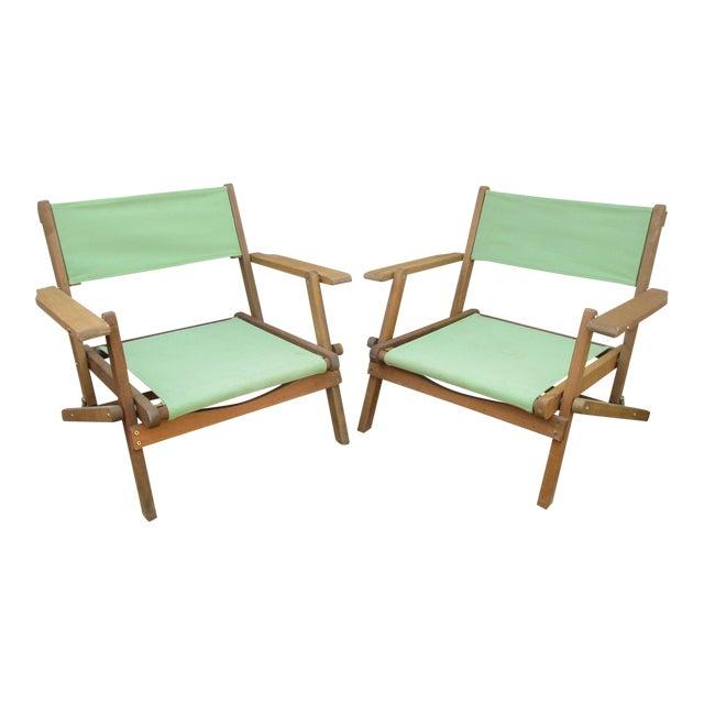 Vintage Teak Folding Canvas Chairs - A Pair For Sale