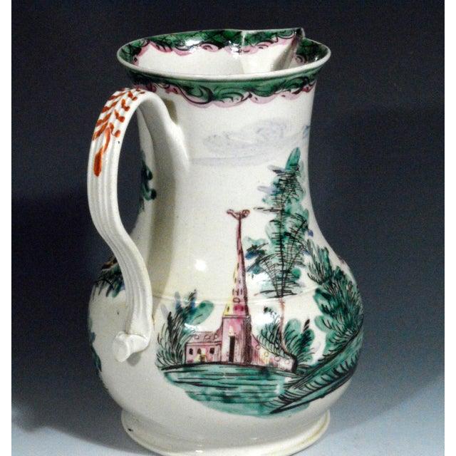 Folk Art Antique English Saltglaze Cider Jug with Figural Polychrome Decoration, Mid-18th Century. For Sale - Image 3 of 11