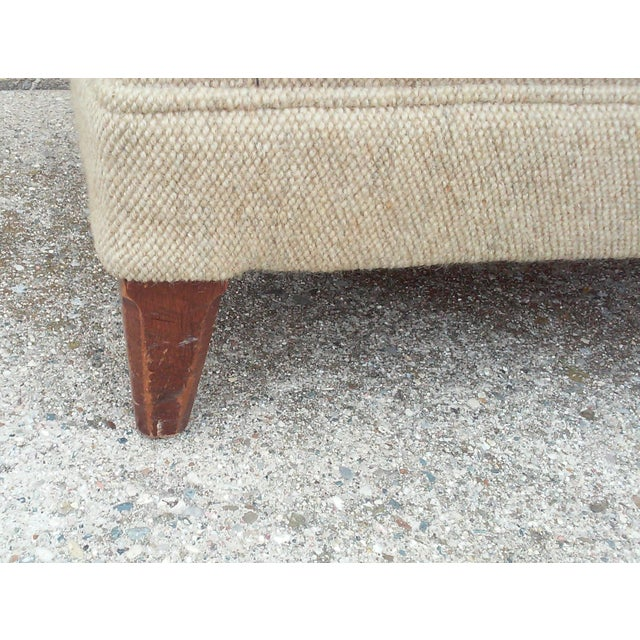 Mid-Century Oatmeal Upholstered Ottoman - Image 6 of 7