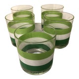 Image of Mid Century Georges Briard Green Stripe Old Fashion Glasses - Set of 5 For Sale