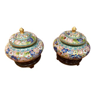 Cloisonne Urns & Wooden Bases - A Pair