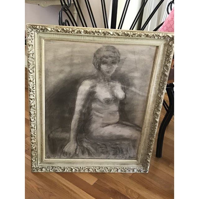 Charcoal Mid-Century Framed Charcoal Nude Sketch For Sale - Image 7 of 10
