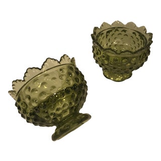 1960s Vintage Fenton Green Ruffle Top Candle Holders - a Pair For Sale