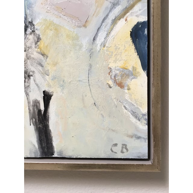 Abstract Painting in Grey, Blue, and Ivory - Image 4 of 8
