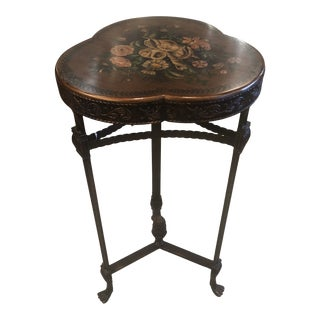 Shamrock Shaped Wood and Metal End Table With Floral Decoration For Sale