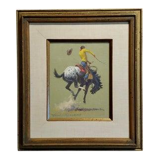 "1968 Vintage Nicholas Samuel Firfires ""Appaloosa Bronco"" Western Oil Painting For Sale"