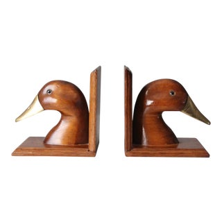 Vintage Wood and Brass Duck Bookends - a Pair For Sale