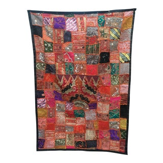 Vintage Indian Import Hand Sewn Wall Tapestry For Sale