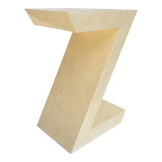 "Karl Springer Attr. Inlaid Bone Tessellated ""Zig-Zag"" Side/End Table"