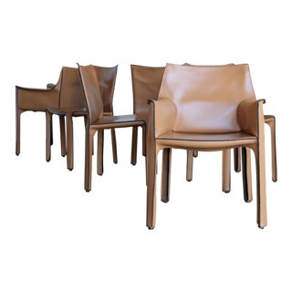 1980s Mario Bellini Leather Cab Dining Chairs - Set of 6 For Sale