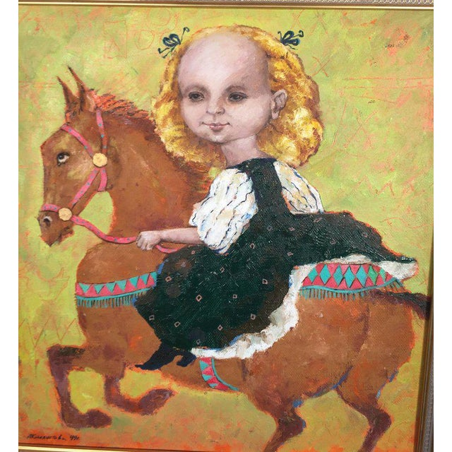 1990s Vintage Russian Whimsical Paintings by Elena Kallistova- A Pair For Sale - Image 10 of 13