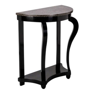 French Demi Lune Ebonised Console with Marble Top For Sale