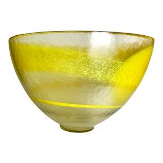 Oversized Murano Yellow Swirl Art Glass Bowl