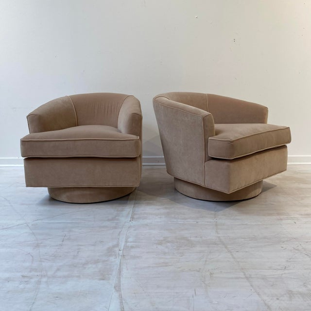1960s Vintage Swivel Chairs in Camel Velvet - a Pair For Sale - Image 5 of 6