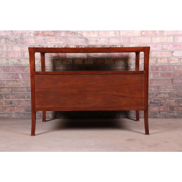Baker Furniture Modern Mahogany Marble Top Buffet Server For Sale - Image 11 of 13