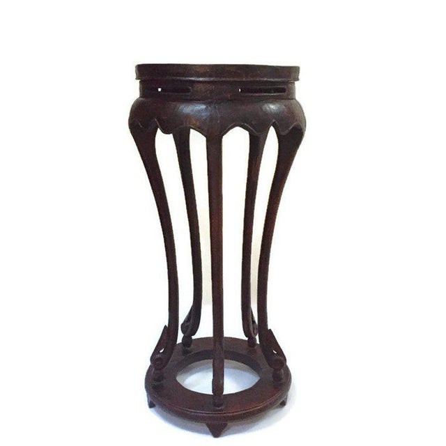 "Vintage Chinese Pedestal Stand Carved Wood Chinoiserie Display Stand Plant Stand 36"" For Sale - Image 4 of 13"