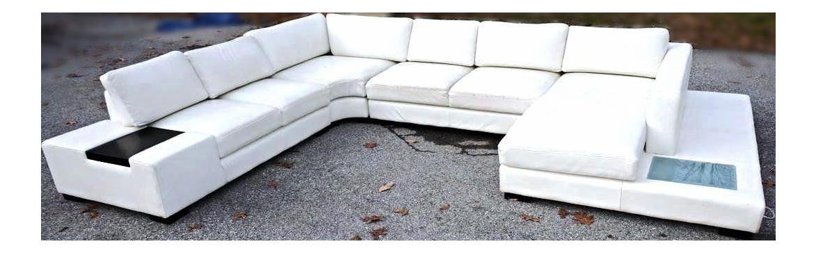 Mid Century Modern White Leather Sectional Sofa Chairish