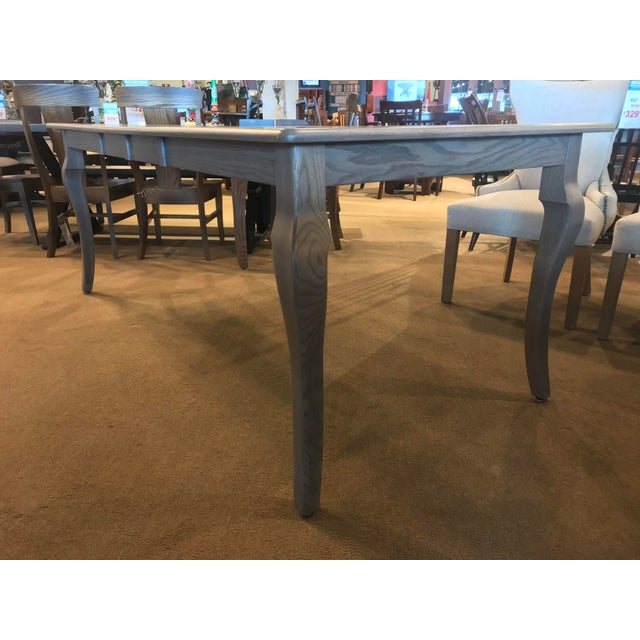 2010s Amish Made Whitewashed Oak Expandable Dining Table For Sale - Image 5 of 9