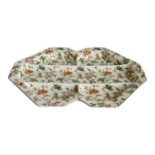 1920s Hand Painted Chintz Floral Ceramic Serving Dish For Sale