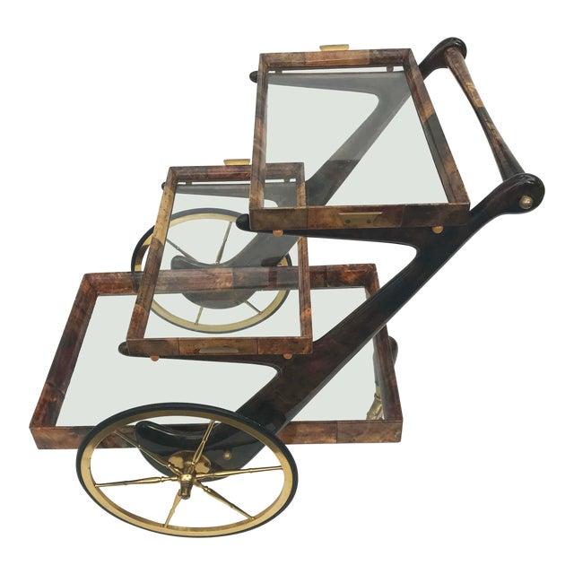 Aldo Tura Goatskin and Lacquer Bar Cart For Sale