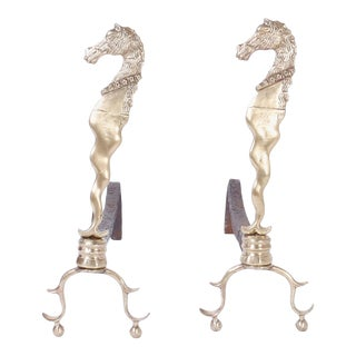 Brass Sea Horse Andirons - A Pair For Sale