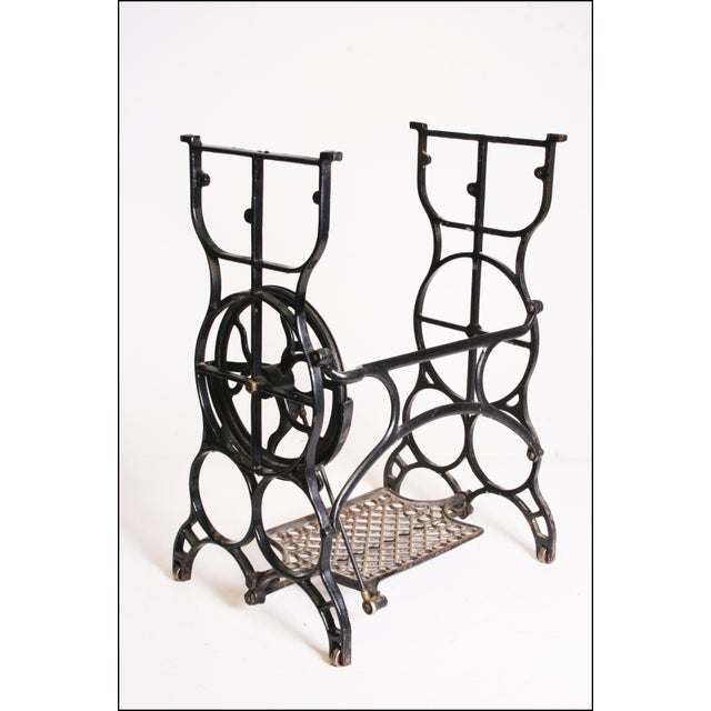Vintage Industrial Black Iron Treadle Sewing Machine Base - Image 7 of 11