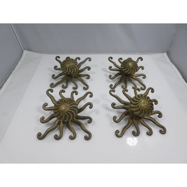 Gold Antique Octopus/Squid Drawer Handles - Set of 4 For Sale - Image 8 of 9