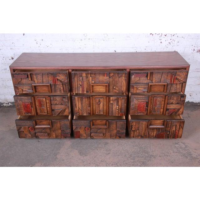 Brown Lane Pueblo Brutalist Mid-Century Modern Oak Long Dresser or Credenza, 1970s For Sale - Image 8 of 13