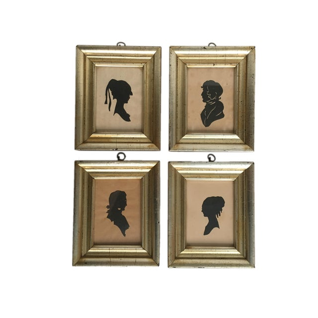 Wood Antique Framed Silhouettes - Set of 4 For Sale - Image 7 of 7