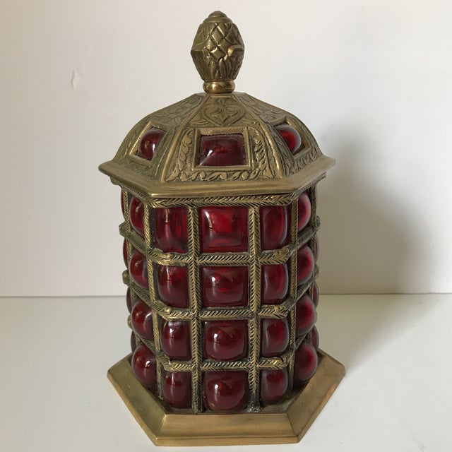 Caged Glass and Brass Jar For Sale - Image 4 of 4