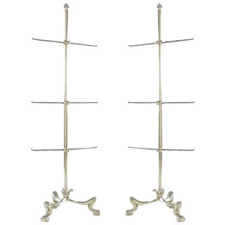 Pair of Chrome French Regency Style Towel Bars For Sale