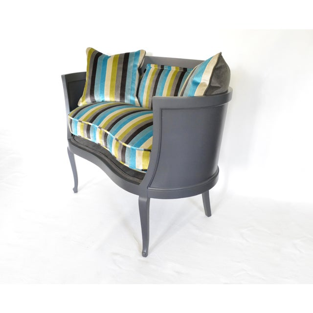 Antique Mahogany Striped Velvet Upholstered Settee Arm Chair For Sale In Tampa - Image 6 of 7