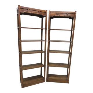 Oak Faux Bamboo Bookshelves - A Pair