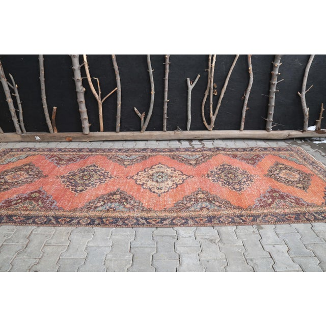 """Farmhouse 1960's Vintage Turkish Hand-Knotted Wide Runner Rug - 4'4"""" X 12'5"""" For Sale - Image 3 of 11"""