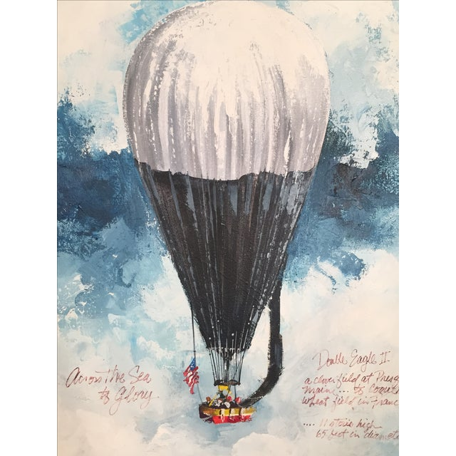 """Oil on canvas, double eagle II hot air balloon, 1978 North Atlantic Crossing. Signed. Framed and matted nicely. """"Across..."""
