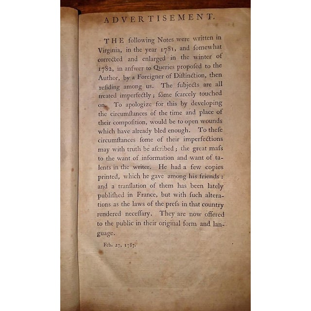 Jeffersons Notes on the State of Virginia 2nd Edition - Important Book For Sale In Dallas - Image 6 of 13