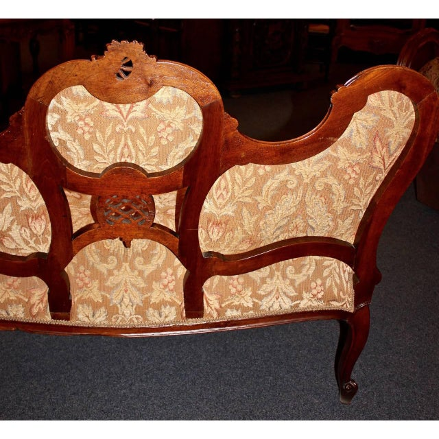 French Louis XV Walnut Settee For Sale - Image 5 of 9
