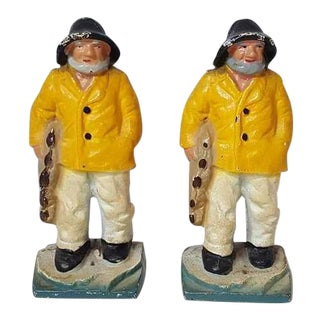 Vintage Hubley Style Fisherman Cape Cod Gloucester Cast Iron Door Stops/Bookends - Set of 2 For Sale
