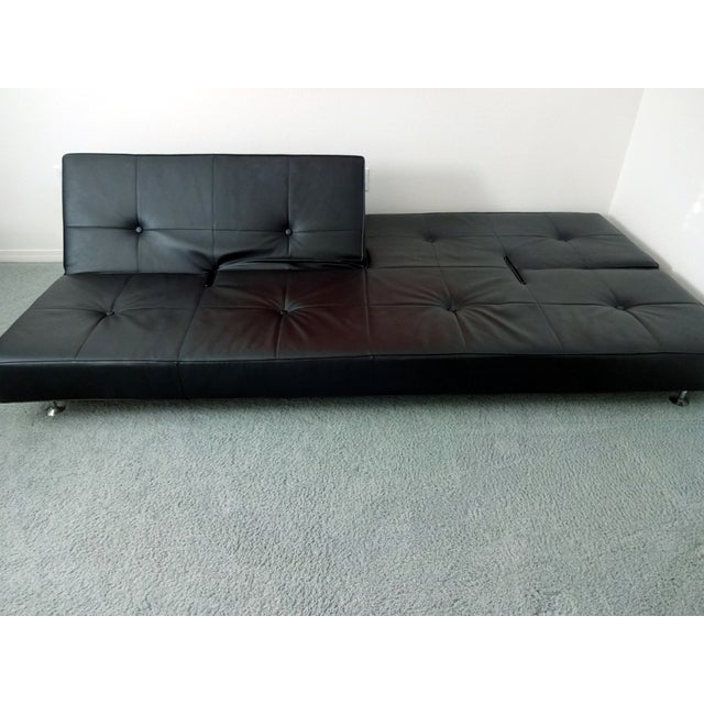 Edra Damier Italian Black Leather Sofa - Image 6 of 11