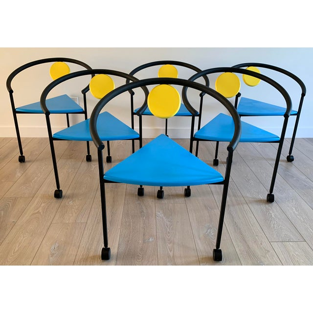 Metal Set of 6 Memphis Three Legged Dining Chairs in the Manner of Michele De Lucci For Sale - Image 7 of 7