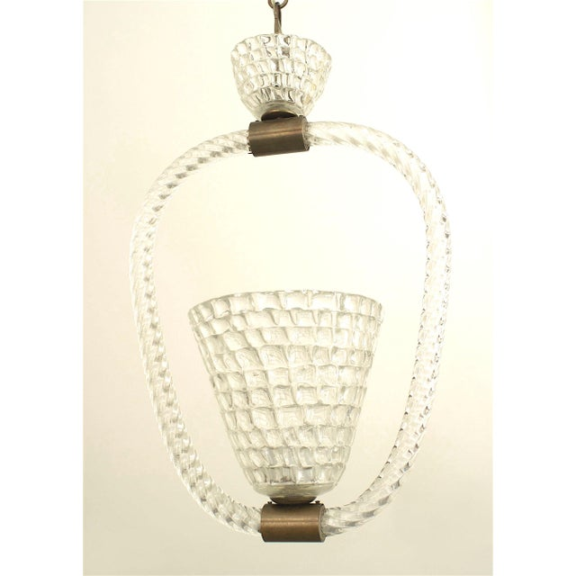 Modern Italian 1940s Lantern With a Conical Shaped Form, by Barovier E Toso For Sale - Image 3 of 3